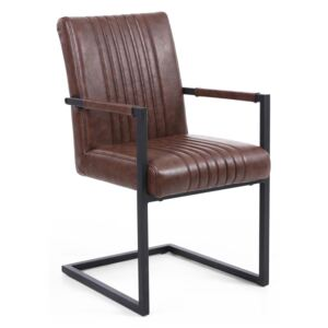 Brown matching Leather Dining Chairs with Armrests - Set of 2