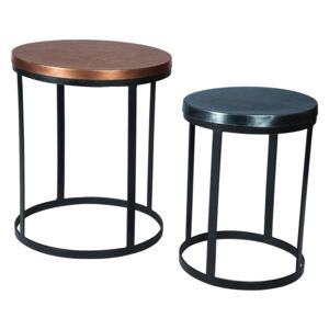 Century Round Reclaimed Metal Nest of 2 Tables, 2 Tone Colour
