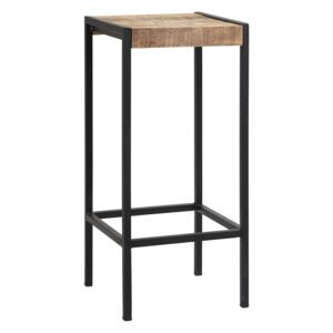 Tall Square Bar Stool made from Reclaimed Metal and Solid Wood