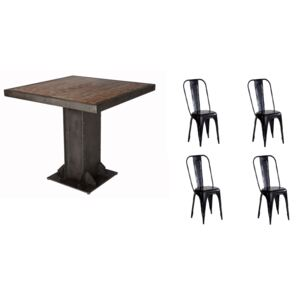 Urban Industrial Square Dining Table with Metal Black Chairs