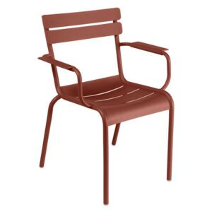 Luxembourg Stackable armchair - / Aluminium by Fermob Red/Brown