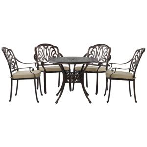 Garden Dining Set Brown Aluminium Outdoor Table 4 Chairs Polyester Seat Pads Beliani