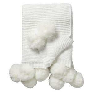 Gazelle Knitted Throw with Pom Poms in Cream