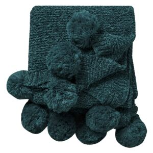 Gazelle Knitted Throw with Pom Poms in Teal