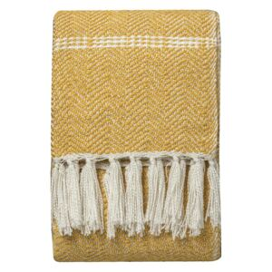 Lydia Faux Mohair Throw in Mustard