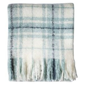 Grant Checkered Mohair Throw in Blue