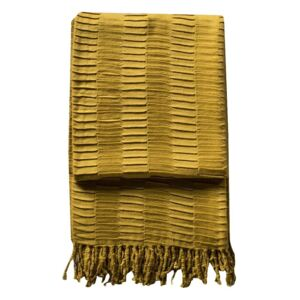 Delia Pleat Textured Throw in Old Gold