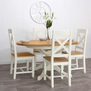 Hampshire Ivory Painted Oak Round Pedestal Extending Dining Table