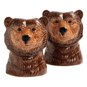 Grizzly bear Salt and pepper set - / Hand painted porcelain by & klevering Brown