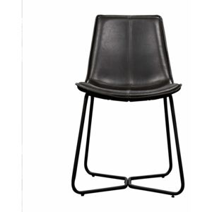 Hawkley Faux Leather Dining Chair - Charcoal Grey (Set of 2)
