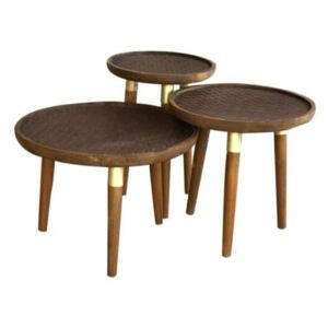 Nora 60cm Rectangle Dark Wood Nest of 3 Coffee Tables