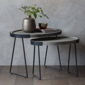 Cross Natural Wood Nest of 2 Tables