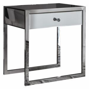Bath Mirrored 1 Drawer Side Table - Silver