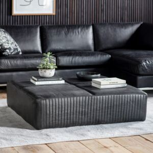 Guston 120cm Square Leather Coffee Table - Black