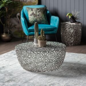 Arden 77cm Round Metal Coffee Table - Silver