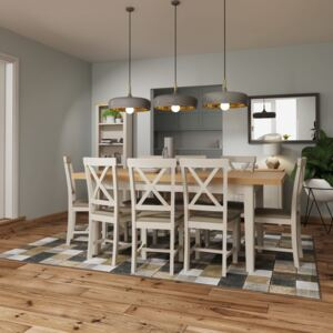 Ruskin 160cm Wood Extending Dining Table - Dove Grey