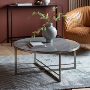 Holme 90cm Round Metal Coffee Table - Silver
