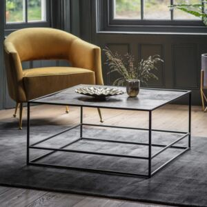 Madson 80cm Square Metal Coffee Table - Antique Gold