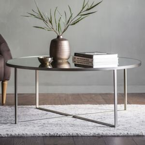 Marley 100cm Round Metal Coffee Table - Silver