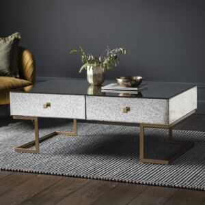 Yamber 120cm Rectangle Mirrored 4 Drawer Coffee Table - Gold