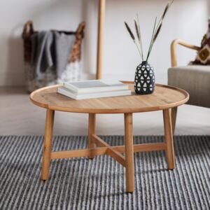 Kingsly 90cm Round Light Oak Round Coffee Table
