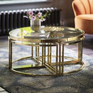 Maresca 95cm Round Metal Coffee Table - Gold