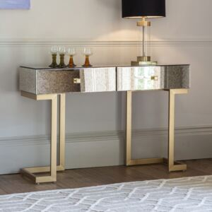 Yamber Mirrored 2 Drawer Console Table - Gold