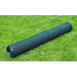 VidaXL Chicken Wire Fence Galvanised with PVC Coating 25x1 m Green