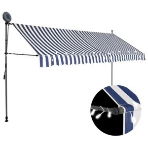 VidaXL Manual Retractable Awning with LED 400 cm Blue and White