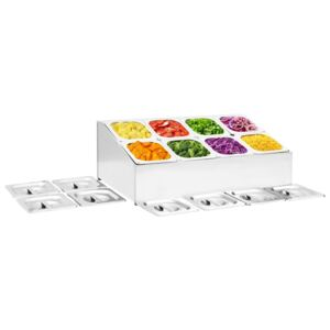 Gastronorm Container Holder with 8 GN 1/6 Pan Stainless Steel