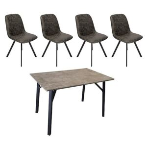 Diego Rectangular Dining Table and 4 Dining Chairs - Grey