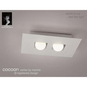 M0127 Cocoon 2 Light Silver Flush Wall Or Ceiling Lamp