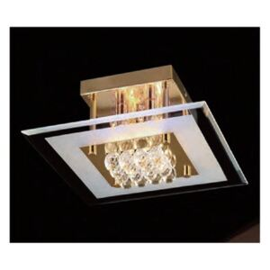 IL32023 Delmar 4 Light Gold And Crystal Flush Ceiling Lamp