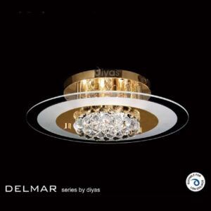 IL32021 Delmar 4 Light Gold And Crystal Flush Ceiling Lamp
