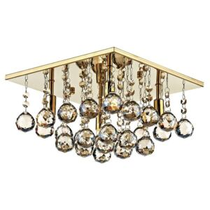 Dar ABA5240 Abacus 4 Light Gold And Amber Crystal Flush Lamp