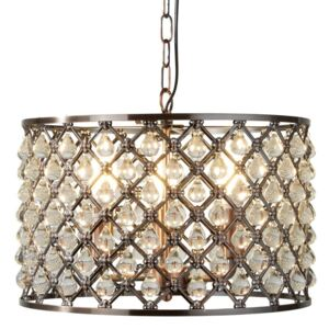Searchlight 7813-3CU Marquise Three Light Ceiling Pendant In Antique Copper And Crystal: Width:380mm