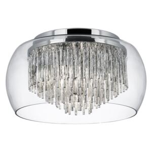 Searchlight 4624-4CC Curva 4 Light Flush Ceiling Light In Chrome And Clear Glass