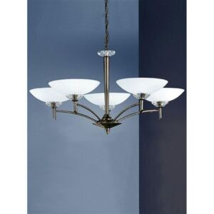 F2010/5 5 Light Bronze and Glass Chandelier