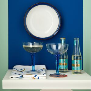 Imperial Blue Set Of 2 Champagne Saucers