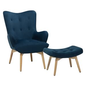 Wingback Chair with Ottoman Blue Velvet Fabric Buttoned Retro Style Beliani