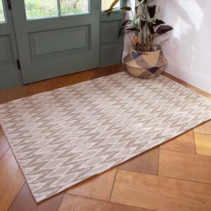 Natural Stripe Woven Sustainable Recycled Cotton Rug | Kendall