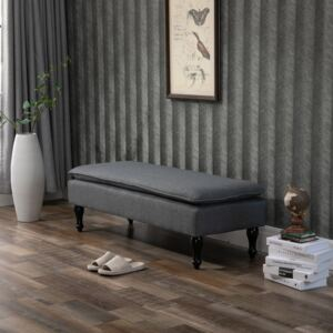 HOMCOM Linen-Touch Upholstered Fabric Ottoman Bench Bed End Stool for Bedroom, Entryway, Living room, Grey