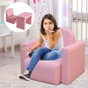 HOMCOM Kids 3 In 1 Table and Chair Set, PVC-Pink
