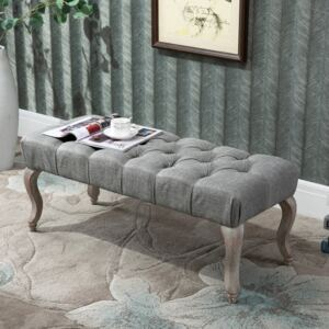 HOMCOM Tufted Upholstered Accent Bench Window Seat Bed End Stool Fabric Ottoman for Living Room, Bedroom, Hallway