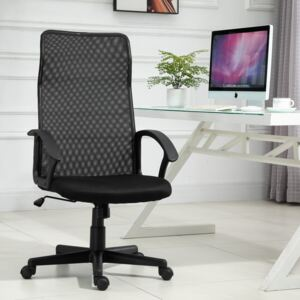 Vinsetto Swivel Chair Mesh Back Office Chair Executive Armchair With Adjustable Height 5 Wheels Thick Padding Moulded Seat Home Work