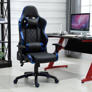 Vinsetto Holographic Stripe Gaming Chair Ergonomic PU Leather High Back 360° Swivel w/ 5 Wheels 2 Pillows Back Support Racing Reclining Black Blue