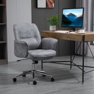 Vinsetto Swivel Computer Office Chair Mid Back Desk Chair for Home Study Bedroom, Light Grey
