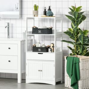 Kleankin Bathroom Floor Cabinet, Free Standing Kitchen Cupboard with Shelves, Drawer and Doors, Storage Organizer for Living Room, White
