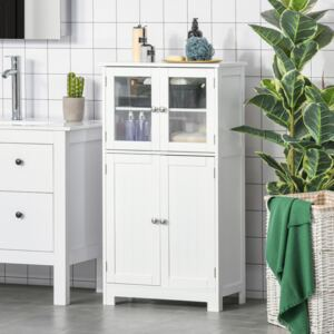 Kleankin Bathroom Floor Storage Cabinet with Tempered Glass Doors and Adjustable Shelf, Free Standing Organizer for Living Room Entryway, White