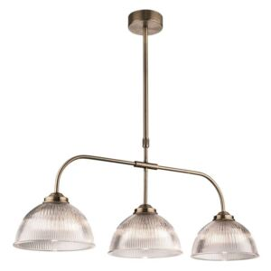 Firstlight 3724AB Ashford 3 Light Linear Ceiling Light In Antique Brass With Ribbed Clear Glass Shades